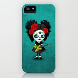 Day of the Dead Girl Playing Jamaican Flag Guitar iPhone Case