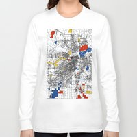 kansas Long Sleeve T-shirts featuring Kansas City  by Mondrian Maps