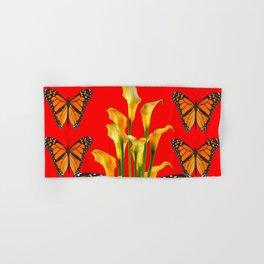 MONARCH BUTTERFLIES & GOLDEN CALLA LILIES RED ART Hand & Bath Towel