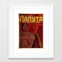 laputa Framed Art Prints featuring Laputa russian poster by KickPunch