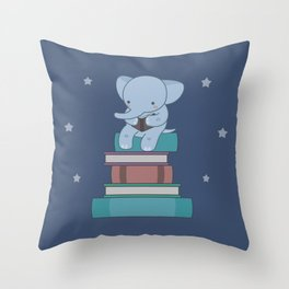 Kawaii Elephant Reading Books Throw Pillow