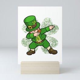 St Patricks Day Dabbing Leprechaun Clover Irish design Mini Art Print