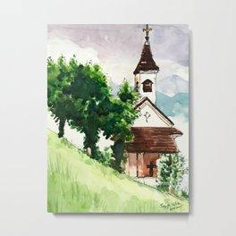Austrian Alps Mountain Chapel Metal Print