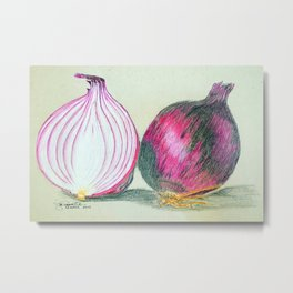 One and Half Red Onions Metal Print