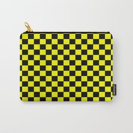 Yellow Black Checker Boxes Design Carry-All Pouch