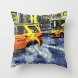 New York Taxis Art Throw Pillow