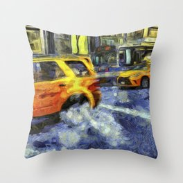 New York Taxis Art Throw Pillow