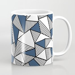 Abstraction Lines with Navy Blocks Coffee Mug
