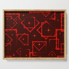 Red diamonds and squares in the intersection with orange stars on a burgundy background. Serving Tray