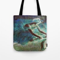 degas Tote Bags featuring Ballerina Teal by PureVintageLove