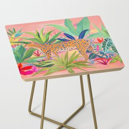 Leopard in Succulent Garden Side Table