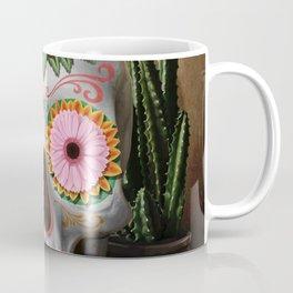Flora - Sugar Skull with Cactus, Red Roses, Avocado and Papaya Coffee Mug
