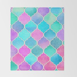 Bright Moroccan Morning - pretty pastel color pattern Throw Blanket