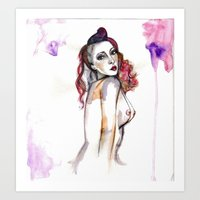 redhead Art Prints featuring Redhead by Annaleigh Louise