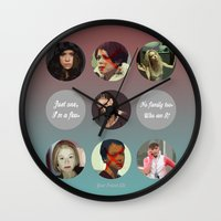 orphan black Wall Clocks featuring Orphan Black, Family by Your Friend Elle