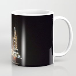 Oil Rig At Sea At Night Coffee Mug