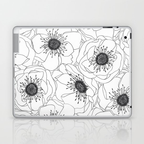 White Anemones Laptop & iPad Skin