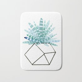Cacti in Geometric Pot - Green Cactus and Graphic, Black Vase Bath Mat