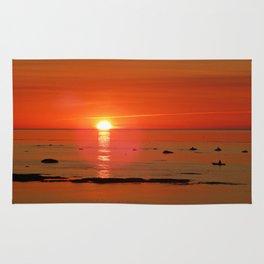 Kayaker and the Setting Sun Rug