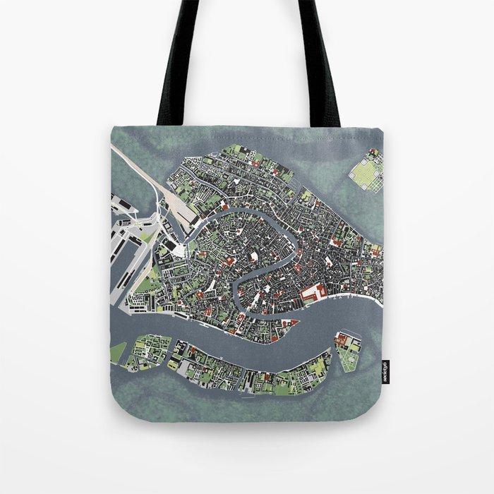 Venice city map engraving Tote Bag