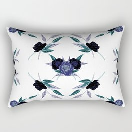 Black and blue peony refexion pattern illustration Rectangular Pillow