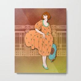AUDREY: Art Deco Lady in Orange and Aqua Metal Print