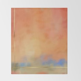 Abstract Landscape With Golden Lines Painting Throw Blanket