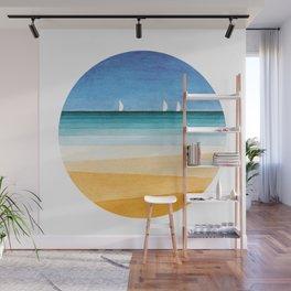 Yachts sea beach watercolor geometric Wall Mural