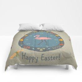 Festive Easter Egg with Cute Flamingo Bird Comforters