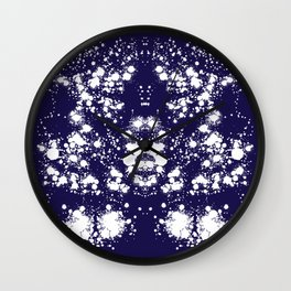 Rorschach Inspired White Ink Blot On Blue Wall Clock