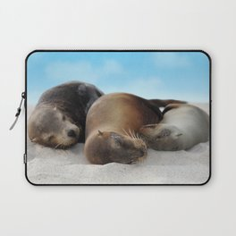 Sea lions family sleeping together on beach Laptop Sleeve