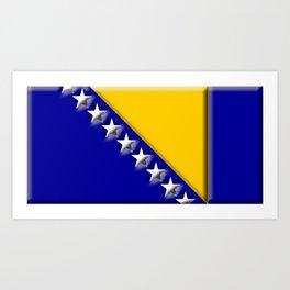 Bosnian 3D Flag Art Print
