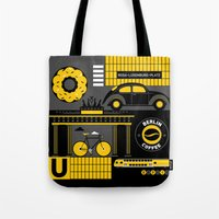 berlin Tote Bags featuring Berlin by koivo