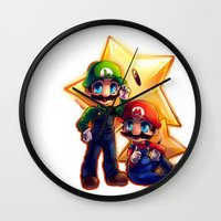 mario bros Wall Clocks featuring Mario Bros. by StephanieIllustrations