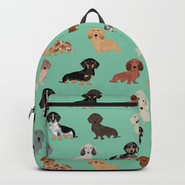Dachshund dog breed pet pattern doxie coats dapple merle red black and tan Backpack
