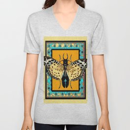 BUTTERFLY WESTERN YELLOW-ORANGE-TURQUOISE INSECT  PATTERNS Unisex V-Neck
