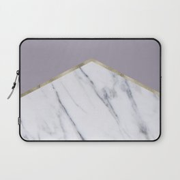 Smokey lilac - gold geometric marble Laptop Sleeve