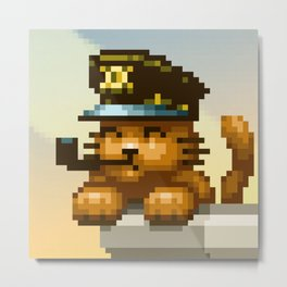 AQUA KITTY - Captain Cat Metal Print