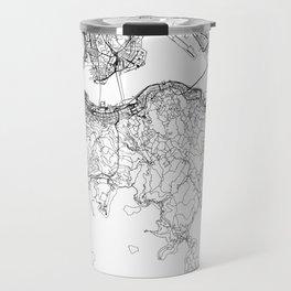 Hong Kong White Map Travel Mug