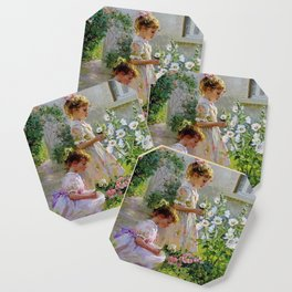 Beautiful Painting Of Two Girls Picking Flowers Coaster