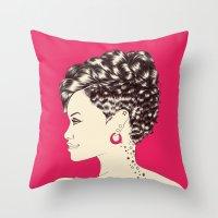 rihanna Throw Pillows featuring Rihanna by Chris Moran