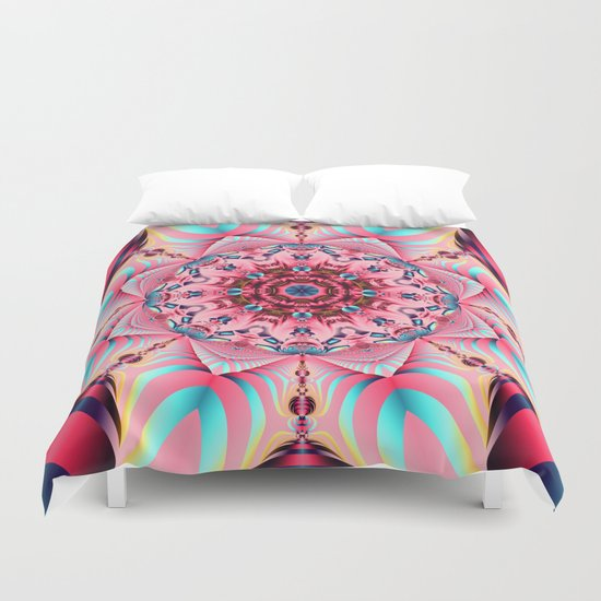 Blooming in Pink, floral kaleidoscope design Duvet Cover