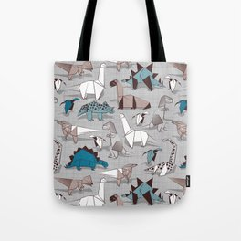 Origami dino friends // grey linen texture blue dinosaurs Tote Bag