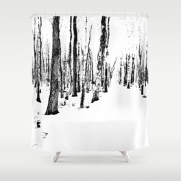 Trees in the Snow (B&W) Shower Curtain