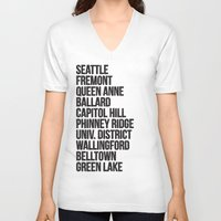 cities V-neck T-shirts featuring SEATTLE CITIES by Party in the Mountains