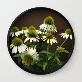 Wild White Coneflowers Wall Clock