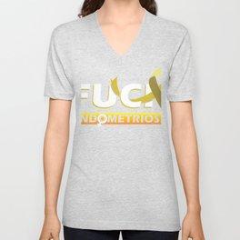 Fuck Endometriosis Awareness Yellow Ribbon Gift Design product Unisex V-Neck