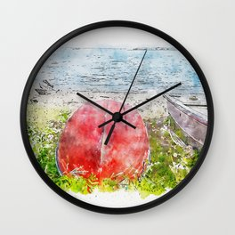 Aquarelle sketch art. Beautiful blue lake and boats in Tuscany, Italy Wall Clock