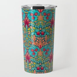 Modern Victorian Maximalist Pattern Art Decor In Turquoise, Orange and Green Travel Mug