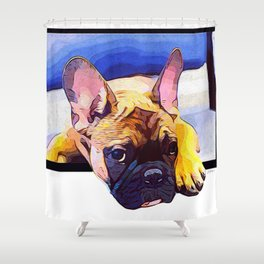 Frenchie in the Window Shower Curtain